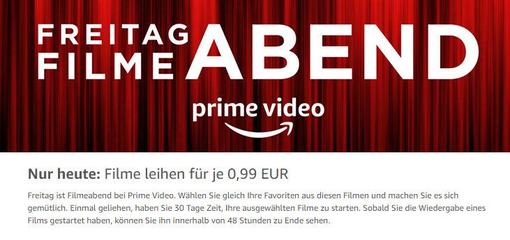 Freitag Filme Abend - bei Prime Video (ehemals Amazon Video) - 99 Cent Filme ausleihen