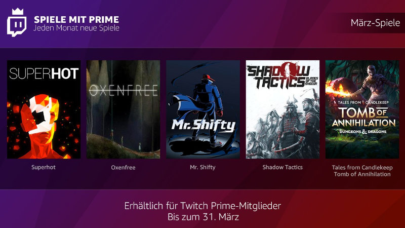 Spiele mit Prime - jeden Monat neue kostenlose PC-Spiele