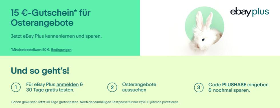 15 Euro Rabatt auf eBay WOW Angebote mit eBay Plus und Gutschein
