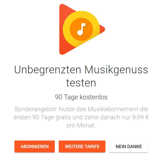 Musik kostenlos für drei Monate - Streaming - Google Play Music