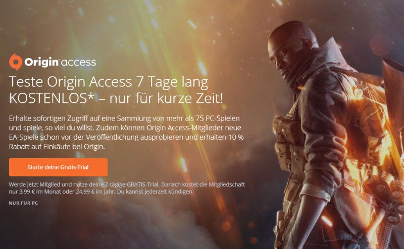 Kostenlose PC-Spiele - 7 Tage Origin Access für den PC kostenlos