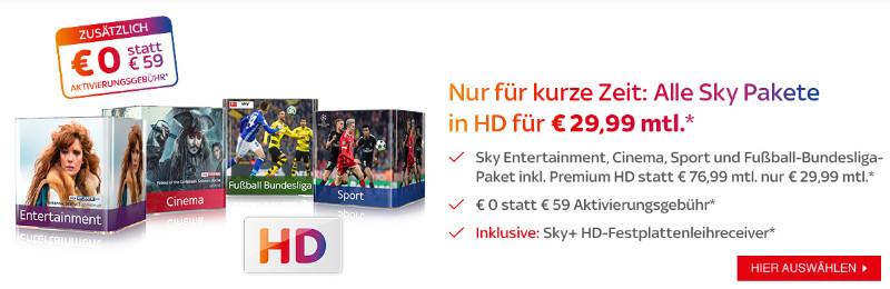 Sky komplett Angebot 30 Euro