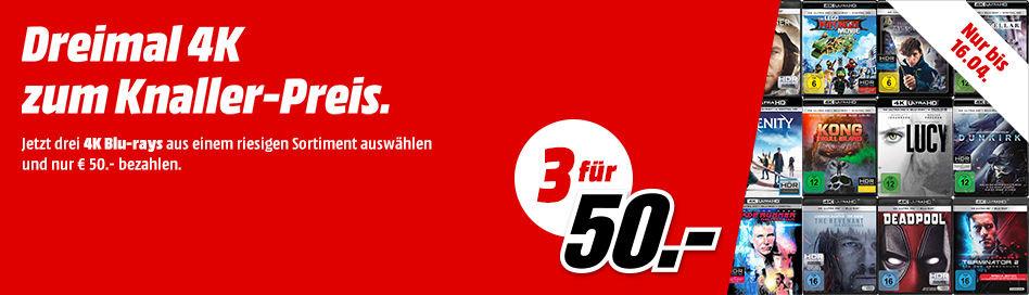 4K UHD Blu-rays günstiger im Dreierpack