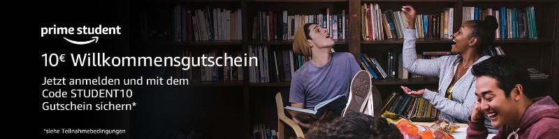Amazon 10 Euro Willkommensgutschein bei Prime Student - Student10