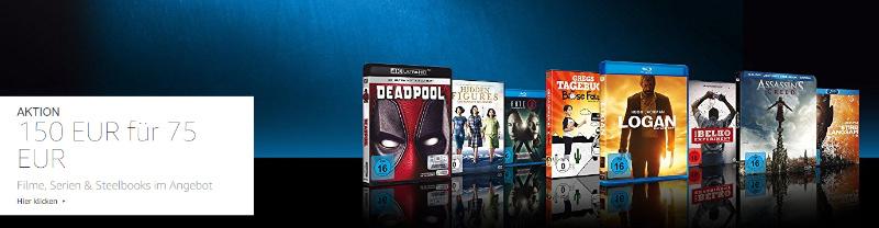 Bis zu 50% Rabatt - Für 150 Euro Filme kaufen, 75 Euro zahlen - April 2018