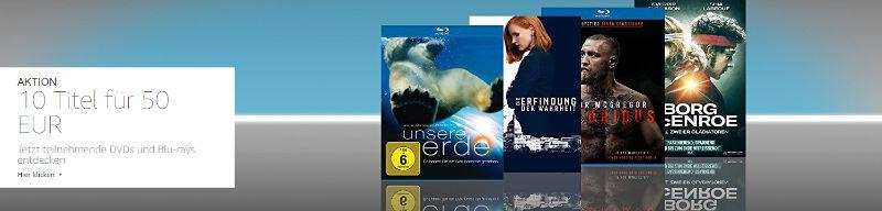 10 Blu-rays für 50 Euro Aktion bei Amazon