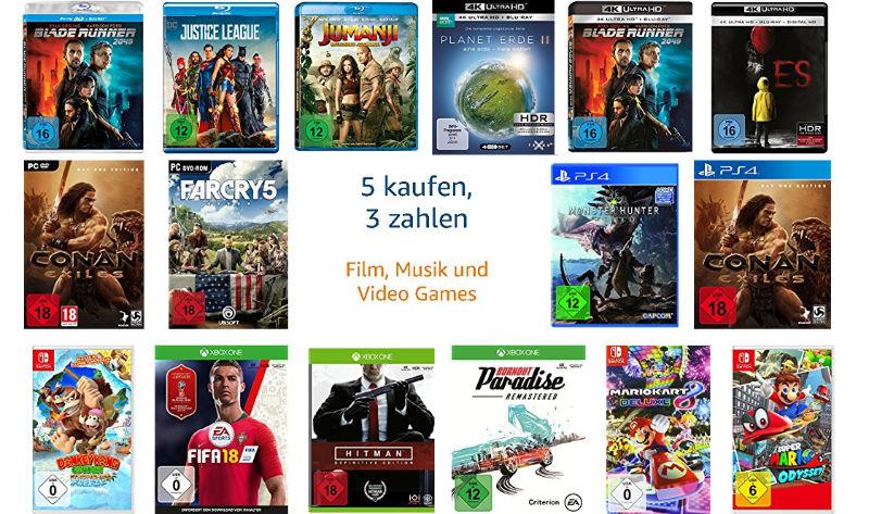 5 kaufen und 2 geschenkt - Kauf 5 zahl 3 - Filme (auch 4K UHD), Spiele, CDs, Vinyl