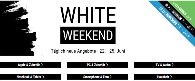 White Weekend - Cyberport - Apple Produkte und mehr reduziert - Juni 2018