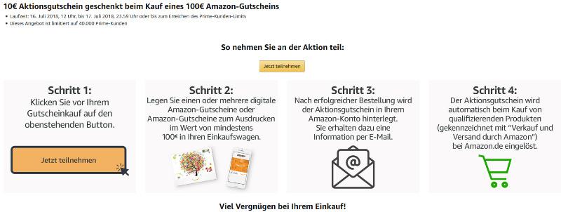 10 € Amazon Gutschein - 100 € Gutschein kaufen - Prime Day 2018
