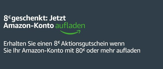 Amazon - 8 € Gutschein Kontoaufladung - August 2019