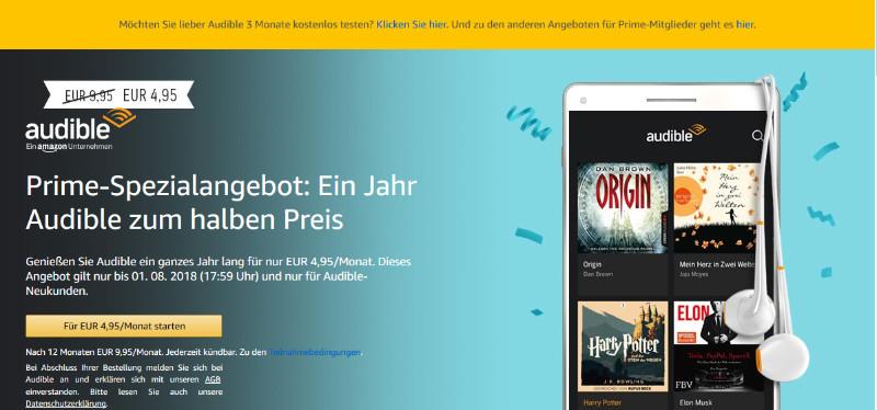 Audible - Hörbücher und Hörspiele für unterwegs und zuhause - 50% Rabatt