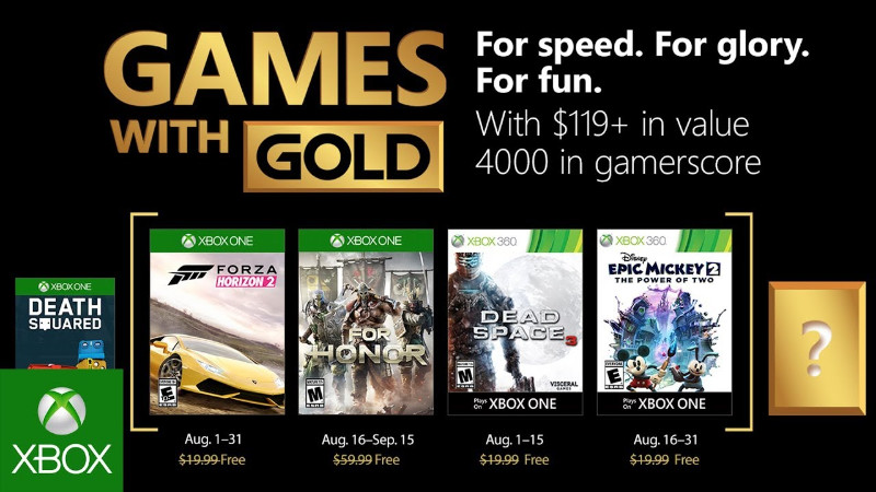Xbox Live - Games with Gold August 2018