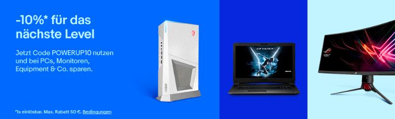 PC-Gaming: 10% Rabatt mit dem Gutschein POWERUP10 bei eBay
