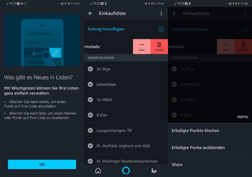 Alexa App - Einkaufsliste teilen / verschicken - schlechter Empfang