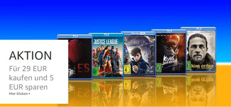 Amazon Heimkino - Rabattaktion mit Filmen - ab 29 Euro gibt es 5 Euro Rabatt