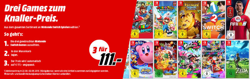 Nintendo Switch Games im 3er Pack für 111 € bei Media Markt