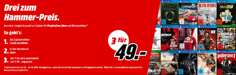 3 Spiele für 49 Euro bei MediaMarkt - PlayStation 4, Xbox One, Windows PC