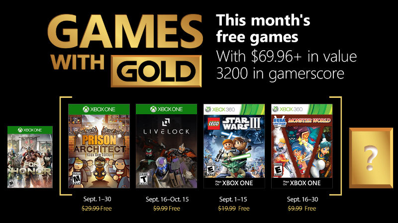 Xbox Live - Games with Gold September 2018