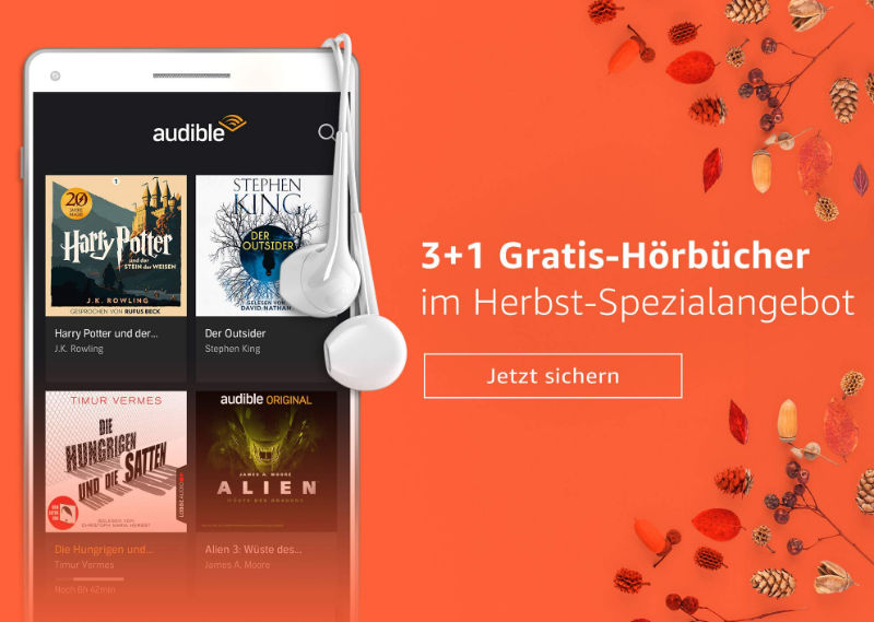 Amazon Audible 3 Monate testen - Vier Hörbücher kostenlos - September/Oktober 2018