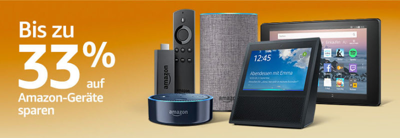 Bis zu 33% Rabatt auf Amazon Devices - Echo, Fire TV Stick, Fire Tablets