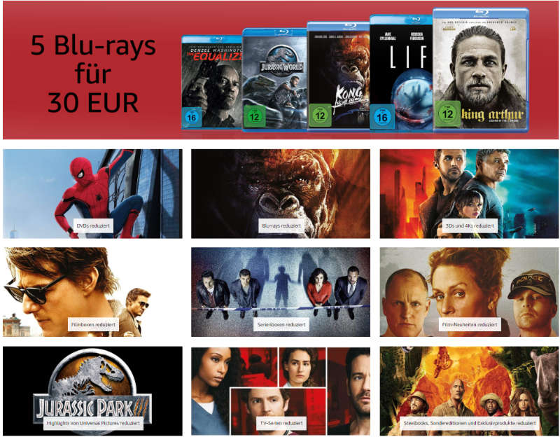 Heimkino - mehr als 7.000 DVDs und Blu-rays reduziert - auch 4K UHD