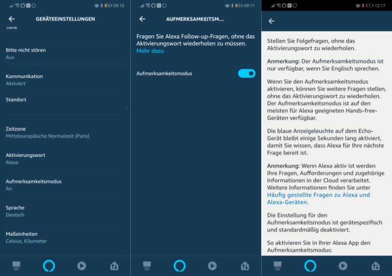 Amazon Alexa / Amazon Echo - Folgefragen - Aufmerksamkeitsmodus - weiter zuhören