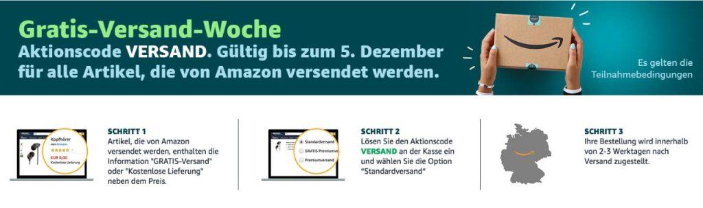 Amazon Gutschein 2018 für kostenlosen Versand