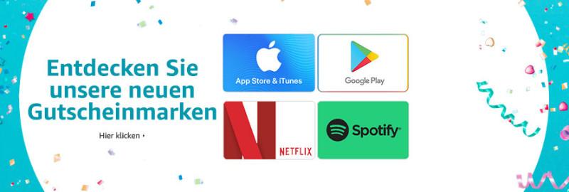 iTunes Guthaben, Google Play Guthaen, Netflix Gutschein, Spotify Guthabenkarte