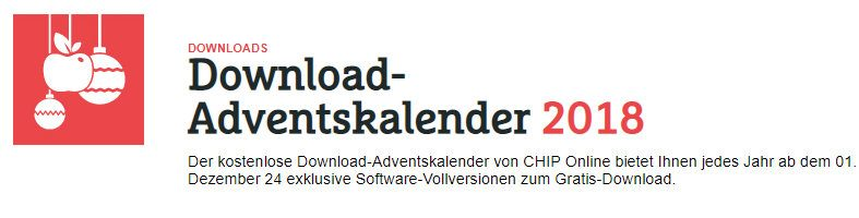 Chip online Adventskalender - Vollversionen kostenlos downloaden