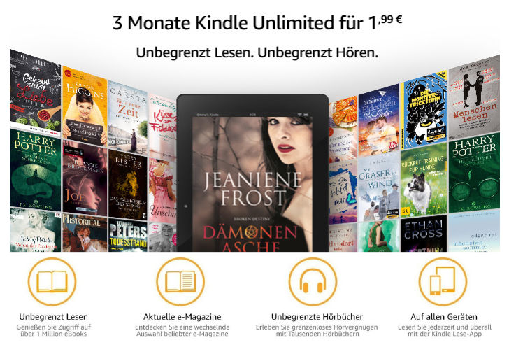 Kindle Unlimited - 3 Monate für 2 Euro