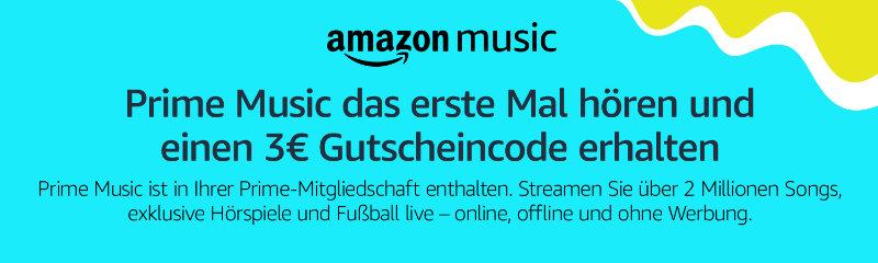 Amazon - Drei Euro Gutschein für erstmalige Nutzung von Prime Musik