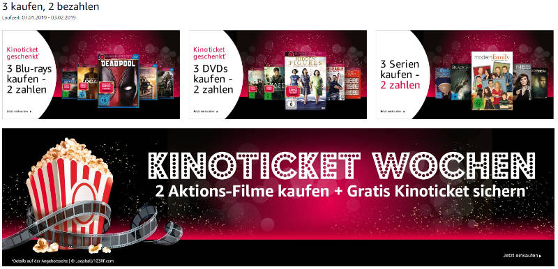 3 Filme oder Serien kaufen - nur zwei bezahlen - Bei Filmen zusätzlich mit Kinoticket