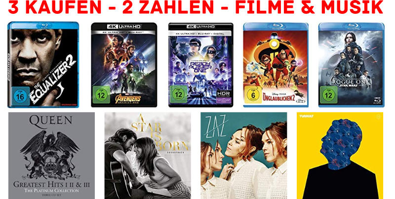 DVDs, Blurays, CDs und Vinyls - 3 fuer 2-Aktion bei amazon.de