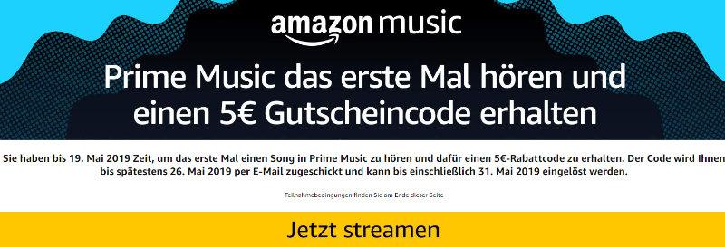 Amazon - Fünf Euro Amazon Gutschein für erstmalige Nutzung von Prime Musik
