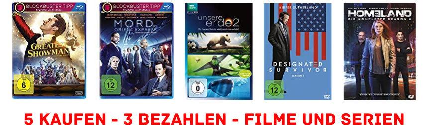 5 für 3 - Aktion - Filme und Serien auf DVD und Blu-ray fürs Heimkino