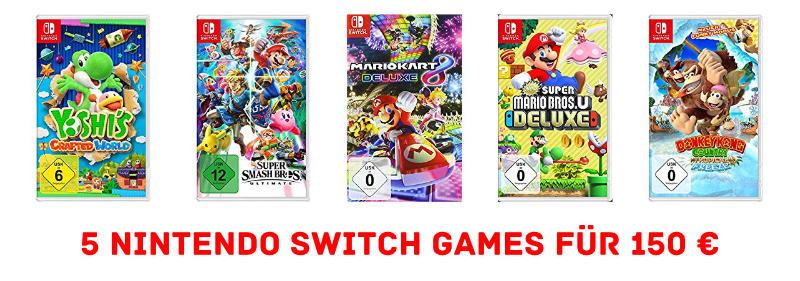5 Nintendo Switch Games für 150 € bzw. 30 € pro Spiel