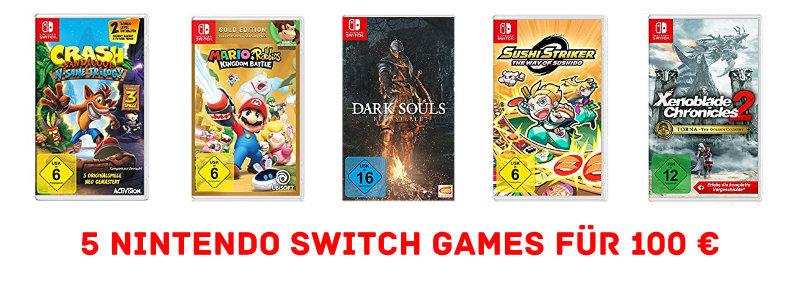5 Nintendo Switch Spiele für 100 € bzw. 20 € pro Spiel