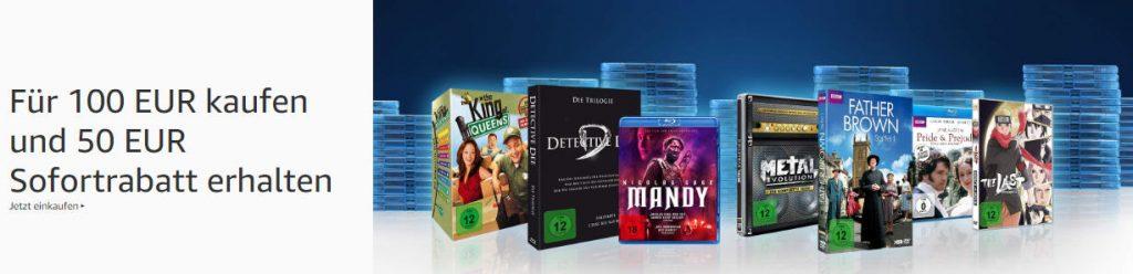 Amazon - 50 € Rabatt beim Kauf von Filmen für 100 Euro oder mehr - große Auswahl