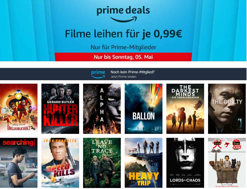 Prime Deals - 12 Filme am Freitag für je 99 Cent leihen