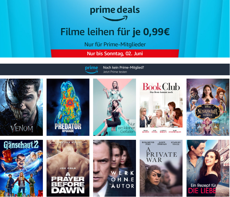 Prime Deals - 10 Filme am Freitag für je 99 Cent leihen