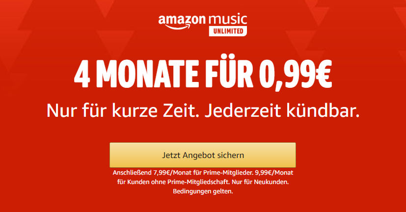 Amazon Music Unlimited ab 99 Cent für 4 Monate