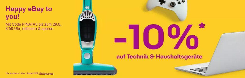 10% Rabatt auf Technik & Haushalt bei eBay - PINATA3 Gutschein