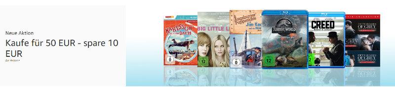 Amazon - 10 € Rabatt beim Kauf von Filmen für 50 Euro oder mehr - große Auswahl
