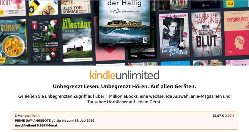 3 Monate Kindle Unlimited kostenlos mit Prime - eBooks,eMagazine und Hörbücher im Abo
