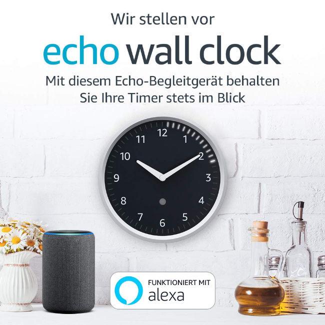 Echo Wall Clock - ohne Mikrofone - Verbindung mit anderem Echo erforderlich - günstiger