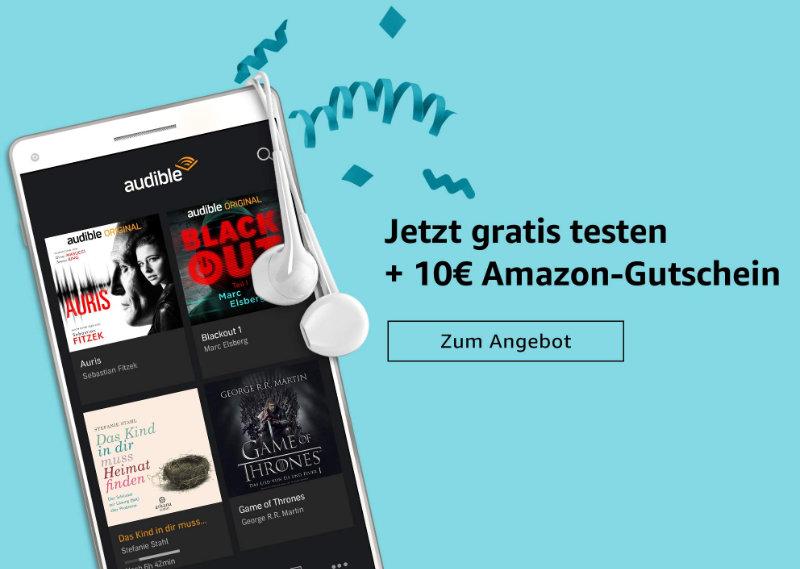 Audible testen und 10 Euro als Amazon Gutschein geschenkt