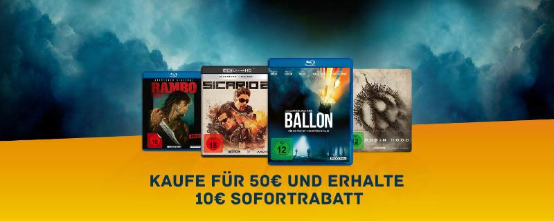 Kaufe für 50 Euro und erhalte sofort 10 Euro Rabatt - ausgesuchte Filme und Serien auch 4K UHD