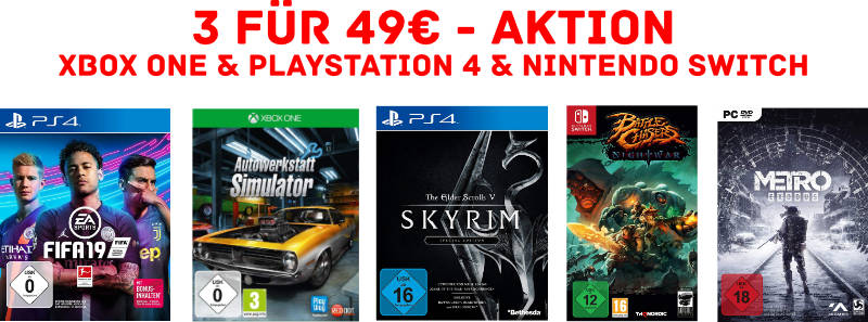 3 Spiele für 49 Euro bei Amazon - PlayStation 4, Xbox One, Windows PC, Nintendo Switch