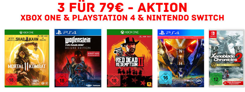 3 Spiele für 79 Euro - Playstation 4, Xbox One, PC - amazon vs. mediamarkt