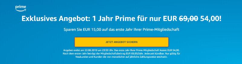 Amazon Prime günstiger - 15 Euro sparen ohne Gutschein - umgerechnet 4,50 € pro Monat